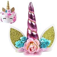 """Decoración para tarta de unicornio, diseño de unicornio con purpurina y texto en inglés """"Happy Birthday Twinkle"""", ideal como regalo de cumpleaños o para magdalenas Unicorn Cake Topper-pink"""