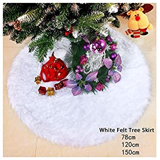 Falda de árbol de Navidad, iMucci 78CM Adornos de falda de árbol de piel sintética blanca, Diseño de doble capa para fiestas de Año Nuevo y Feliz Navidad Decoraciones para el hogar