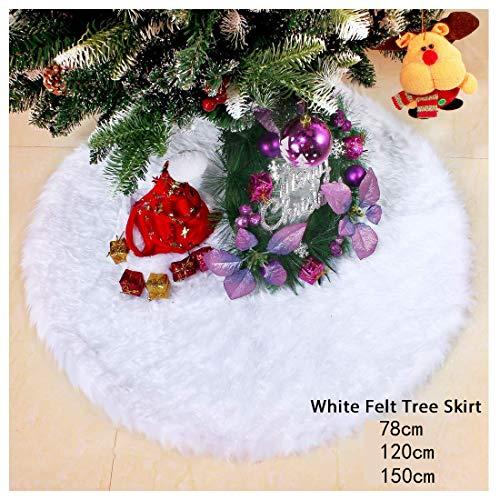 iMucci Gonna Albero di Natale innevato Bianco Peluche Velluto - Holiday Party Decorazione, White, (60inch/150cm)