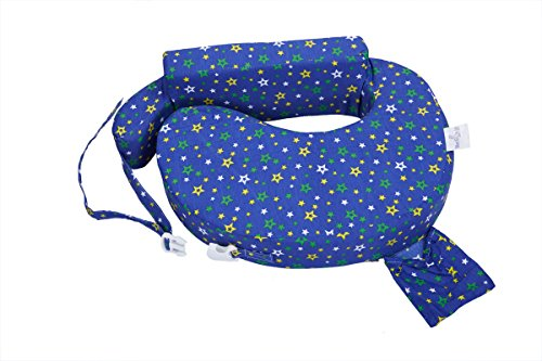 MomToBe Cotton Fabric Feeding/Nursing Pillow- HD Foam, Blue , Star Print