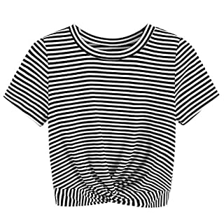 Anglewolf Women's V-Neck Striped Casual Short Sleeve T-Shirt Blouse Tees Tops Plain Round Neck Long Loose Fit T-Shirts with Crossed Front Design Womens Side Buttons Crew Slim(Black 2,XL)