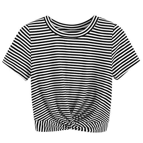 iHENGH Damen Top Bluse Lässig Mode T-Shirt Frühling Sommer Bequem Blusen Frauen Kurzarm gestreiftes verdrehtes T-Shirt mit vorderer Ausschnitt Lässige ()