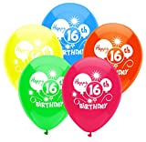 PartyMate 24633 Printed Latex-Ballons, Gummi, 16TH Birthday Balloons