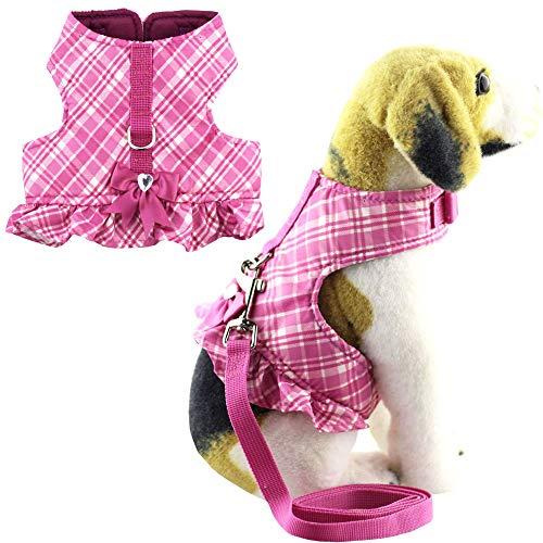 Bolbove Weiche Pet Jackey Vest Plaid Harness Leash Set Katzen Hunde, Lila, Small, Violett (Soft Kostüm Kitty Halloween)