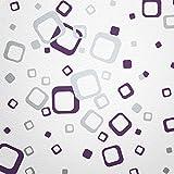 WANDfee Wandtattoo 60 Vierecke FARBWUNSCH Farbe Lila Silber Zweifarbig Bunte Moderne Wanddeko Selbstklebende Retro Cubes Quadrate Wandaufkleber Wandsticker Fliesenaufkleber Dekoration Deko Aufkleber