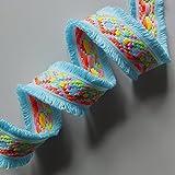 NEON Jacquard Woven Braid mit Double Edge Fransen, Fashion Schnitt, Meterware 4,5 cm aqua blue
