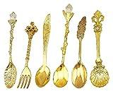 HENGRUI Kreative kleine Löffel Serie von Europäischen Palace Geschirr Retro Löffel, 6pcs Kaffeelöffel für Küchenmahlzeiten, Gewürze oder Gewürze, Gold