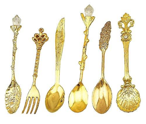 HENGRUI Cuchara Pequeña Creativa Serie de Vajilla de Palacio Retro,Un Juego de 6 Piezas para cocinas, condimentos y Especias, Oro
