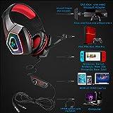 Swenter Gaming Headset für PS4, 3.5mm Surround Sound Kabelgebundenes Headset mit Mikrofon, Buntes LED-Licht, Kopfhörer für Laptop, Mac, Xbox One, Tablet, PC, Smartphone (Rot)