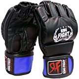 Ring Fight MMA UFC Grappling Gloves Black/Blue (Open Finger) Small/Medium