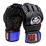 Ceela Sports Ring Fight MMA UFC Grappling Gloves (Open Finger) Black/Blue Large/X-Large