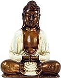 Guru-Shop Buda Sentado en Dhyana Mudra de Recin - Blanco, 30x24x12 cm, Estatuas de Buda