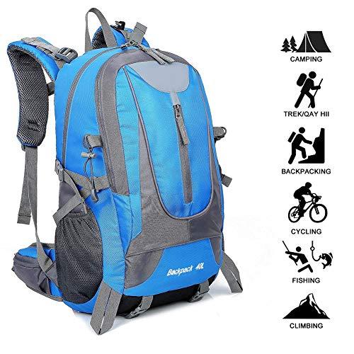 Adnyoutdoor zaino da trekking impermeabile da 40l, zaino da viaggio sportivo multifunzionale leggero, adatto per ciclismo, alpinismo, campeggio, pesca, zaino da donna per uomo (blu)