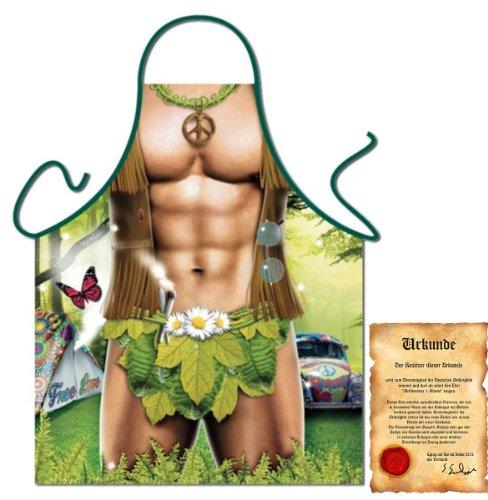 trag-das bedruckte Fun Grillschürze - sexy Motiv: Hippie Man - Spaß Grillschürze Kochschürze Weihnachten Advent Nikolaus Küche