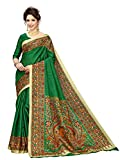 Indian Beauty Khadi Silk Saree with Blouse Piece (IB-1110_Green_Free)
