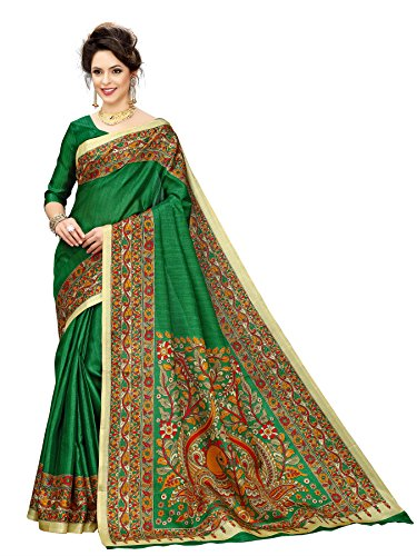 Indian Beauty Cotton Saree with Blouse Piece (IB-1110_Green_Free)