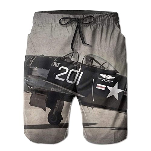 Men's Cool Vintage Airplane Fashion Beach Pant Tide Stamp Shorts X-Large -