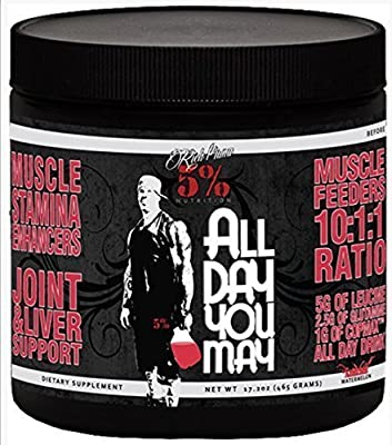 Rich Piana 5% Nutrition All Day You May BCAA & Joint Recovery Drink (Watermelon) 17.2oz (465 Grams) 30 Servings by 5% Nutrition