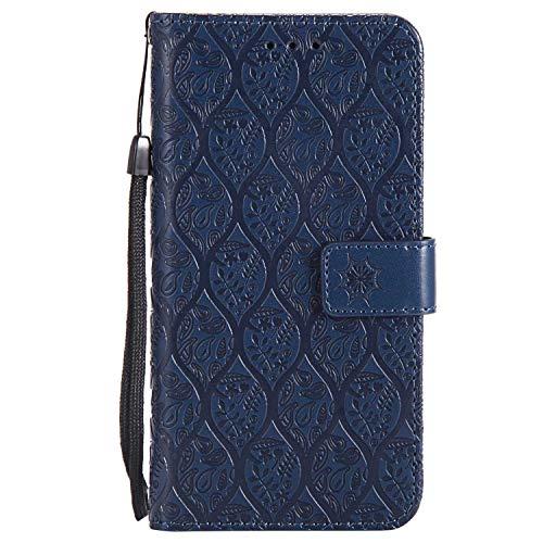 DENDICO LG K10 2017 Hülle, PU Leder Handyhülle, Flip Brieftasche Wallet Tasche Etui TPU Schutzhülle für LG K10 2017 - Navy Blau
