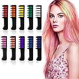 Haarkreide Kamm 10 Farben, LATTCURE Haarfarbe Kreide Kamm, Kinder Haarfärbemittel, Temporär Haarkreide instant Einmalige Haarekreide Kamm mit Handschuhe, waschbar und ungiftig