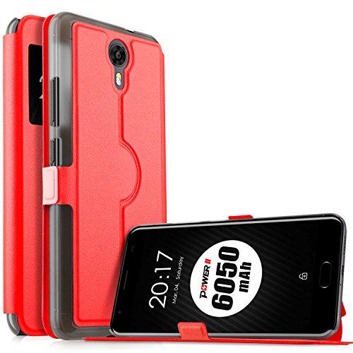 Ulefone Power 2 Hülle, KuGi Ulefone Power 2 Premium PU Leder Kasten für Ulefone Power 2 Smartphone (Rot)