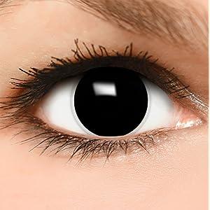 Farbige Kontaktlinsen Hexe in schwarz + Behälter – Top Linsenfinder Markenqualität, 1Paar (2 Stück)