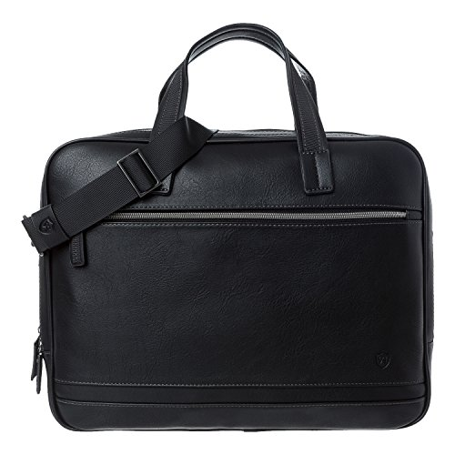 Tasche, Aktentasche Aus Leder (VON HEESEN Aktentasche Laptoptasche bis 15,4 Zoll I 2 Fächer I Business-Tasche Umhängetasche Notebooktasche aus Kunstleder für Damen & Herren (Schwarz))