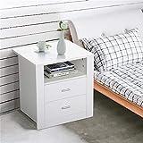 Yaheetech Nachtkommode, Nachttisch mit 2 Schubladen und Ablagen, Nachtschrank, Schlafzimmer, Weiß, 52 x 40 x 55 cm