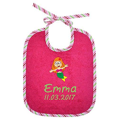 Baby-Lätzchen für Mädchen und Jungen in pink mit Streifen 0041 - zum Binden - Persönliches Design - Geschenkideen für • Geburt • Taufe • Geburtstag