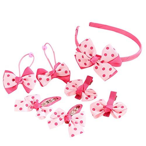 IGEMY 7Pcs Kinder Haarnadel, Baby Mädchen Bowknot Dots Motive Haarspange Set (Rosa) -
