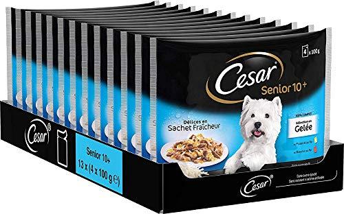 CESAR Sachets fraîcheur en gelée pour chien senior aux 2 saveurs, 52 sachets repas de 100g