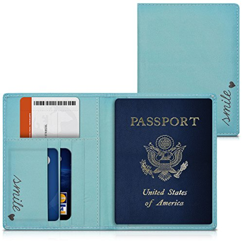 Kwmobile porta passaporto in pelle sintetica - scomparti carte foderina per passaporto in similpelle - custodia porta documento blu/turchese design smile