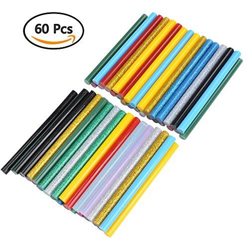 Preisvergleich Produktbild ATPWONZ 60 stück farbige Klebesticks Heißkleber Klebestifte in 12 verschiede Farben 7mm x 100mm Geeignet für gängige Heißklebepistolen