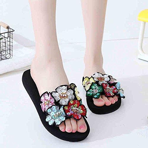 Pente avec sandales à talons hauts à bascule --- 3cm / 7cm Pantoufles d'été féminin Chaussons de chaussures de femmes épaisses en bas Chaussures de plage de nouvelle mode --- Herringbone fashion sweet 3cm