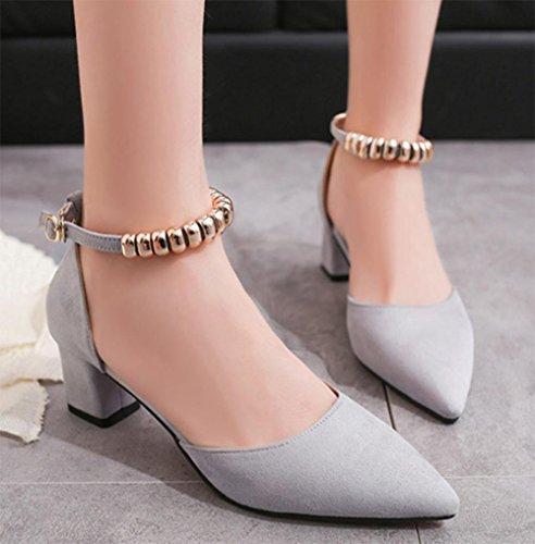 Baotou dick mit Frau Sandalen Fußring Riemchen-Sandalen Sommer Sandalen und Pantoffeln Schuhe Metallkette Grey
