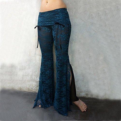 Femme Yoga Pantalon Taille Basse Pantalon évasé Dentelle Pantalon Avec Collants Patchwork Bloomers Danse Pantalon Élégant Doux Confortable 6 Couleurs S-5XL Juleya Bleu