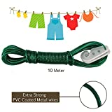 #8: AllExtreme 10 meter PVC Coated Steel Anti-Rust Wire Rope Washing Line Clothesline with 2 Plastic Hooks(Green)