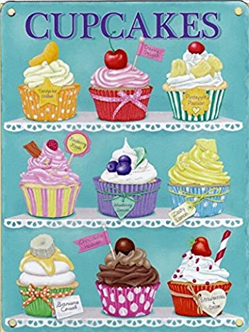 Cupcakes. 9 cakes, flavours, blue back ground. Ideas. Bright colours, cherry, chocolate, strawberry, fruits. Food and drink. Blue background. British past time. Fashion. Medium Metal/Steel Wall Sign