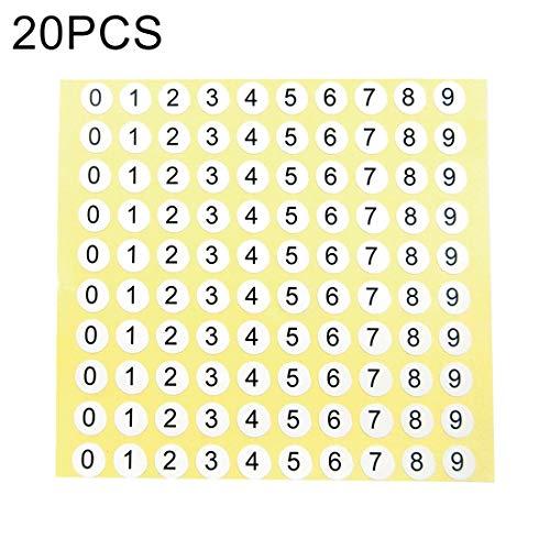 Praktisch 20 Stück Runde Form Anzahl Aufkleber Schuhgröße Label, Nummer 0-9, Durchmesser 10mm