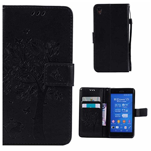 Product Image of Sony Xperia Z3 Case + Free Tempered Glass Screen Protector, BoxTii® Premium PU Leather Case Cover with [Wrist Strap] [Magnetic Clip] [Card Slots] [Stand], Elegant Vintage Book Style Design Anti-Scratch Shock-Absorption Folding Folio Flip Wallet for Sony Xperia Z3 (#1 Black)