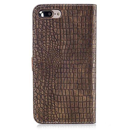 iPhone 7 Plus 5,5Zoll Leder Hülle,iPhone 7 Plus Luxus Schutzhülle,TOYYM Krokodil Haut Muster Design PU Leder Flip Wallet Brieftasche Case mit [Kartensteckplätze][Standfunktion],Bookstyle Klapphülle Fo Farbe 5