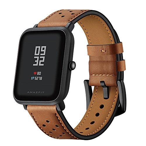 AISPORTS Amazfit - Correa de piel para reloj inteligente de 20 mm, correa de muñeca para Amazfit Bip/Samsung Galaxy Watch 42 mm/Galaxy Watch Active 40 mm/Gear Sport/S2 Classic, marrón