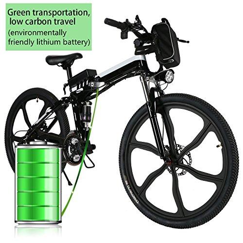 Coorun E-Bike 26 Zoll Mountainbike,Faltbares Elektrofahrrad, 36V 250W E-MTB mit Große Kapazität Lithium, Mechanische Scheibenbremsen, 21 Gang Shimano Schaltung