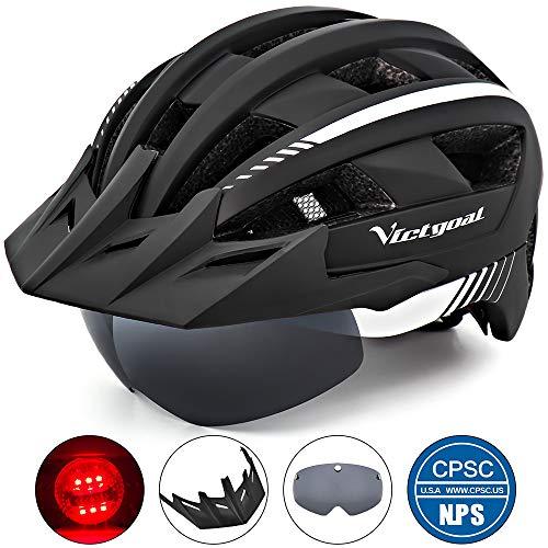 Victgoal Fahrradhelm MTB Mountainbike Helm mit abnehmbarem magnetischem Visier Abnehmbarer Sonnenschutzkappe und LED Rücklicht Radhelm Rennradhelm für Erwachsenen Herren Damen (Black-White)