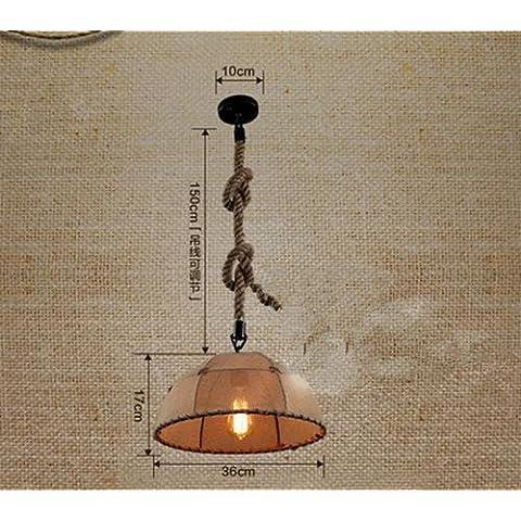 YMXJB lampada a sospensione Canapa a mano corda lampadari moda industriale 1pc panno semicircolare capo (Centro Telaio Di Montaggio)