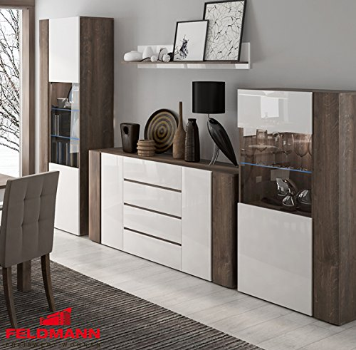 Wohnwand Wohnzimmer Set 4-teilig 220916 hidalgo / weiß Hochglanz