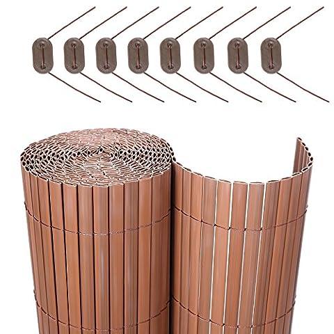 Songmics PVC Sichtschutzmatte 80 x 600 cm (Zusammengesetzt aus 2 Matten mit 1 x 300 cm + 1 x 300 cm Länge) GPF086B