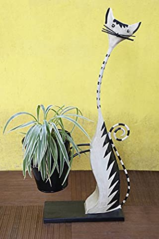 Store Indya Quirky Cat Shaped Iron Planter Stand for Outdoor Indoor Use Home Gardening Decor
