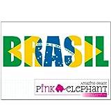 pinkelephant Aufkleber - Brasil - Schrift - Fahne - Brasilien - 28,5 cm x 8,5 cm - Laptop Sticker skin flag