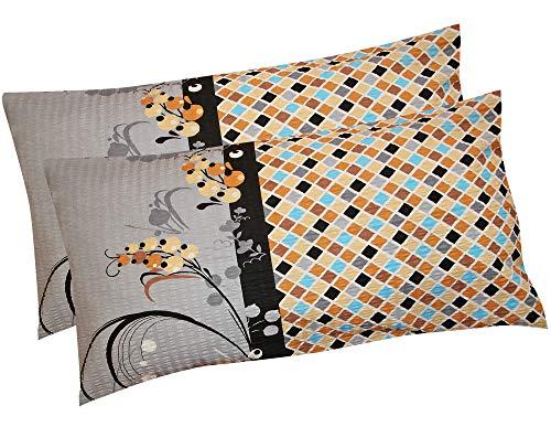 Heubergshop Seersucker Kissenbezug – 2er Set in 40x80cm – Kopfkissen-Bezug, Kissenhülle, Doppelpack – 100% Baumwolle, Reißverschluss mit Motiv